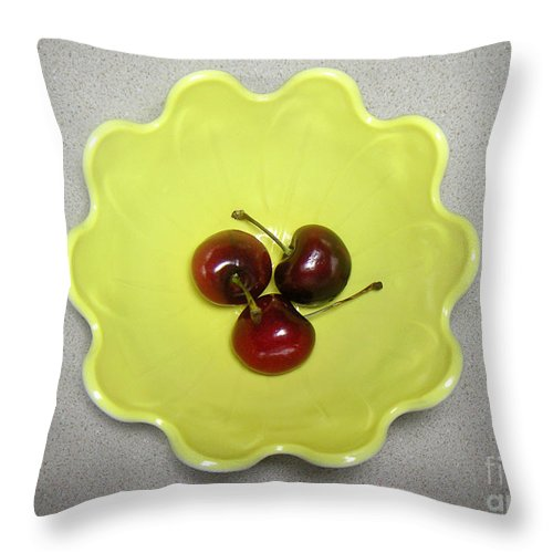 Nature Throw Pillow featuring the photograph Three Cherries In A Bowl by Lucyna A M Green