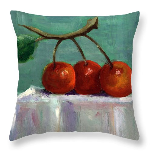 Fruit Throw Pillow featuring the painting Three Cherries by Linda Hiller