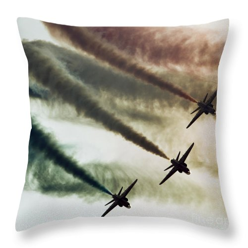 Red Arrows Throw Pillow featuring the photograph Three Colors by Angel Ciesniarska