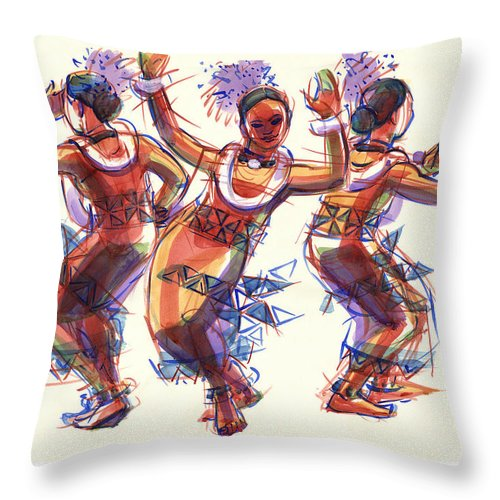Dancers Throw Pillow featuring the painting Three Dancers Of Tongatapu by Judith Kunzle