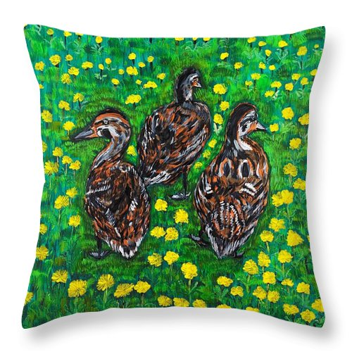 Bird Throw Pillow featuring the painting Three Ducklings by Valerie Ornstein