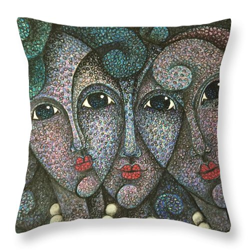 Sacha Throw Pillow featuring the drawing Three Faces 2015 by S A C H A - Circulism Technique