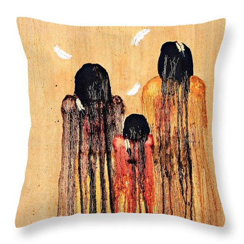 Art Throw Pillow featuring the painting Three Feathers by Patrick Trotter
