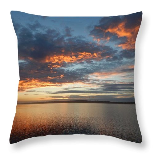 Oregon Throw Pillow featuring the photograph Three Fiery Clouds by Gallery Of Hope