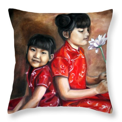 Asian Throw Pillow featuring the painting Three Flowers by Maryn Crawford