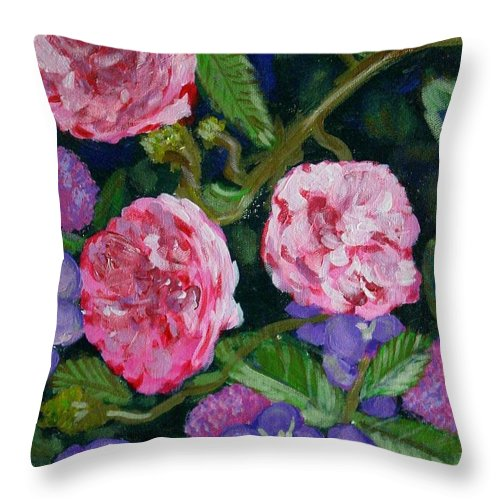 Roses Throw Pillow featuring the painting Three For The Show by Laurie Morgan