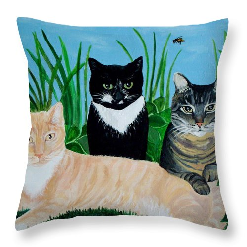 Landscape Throw Pillow featuring the painting Three Furry Friends by Elizabeth Robinette Tyndall