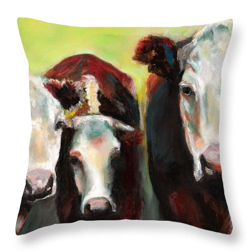 Cows Throw Pillow featuring the painting Three Generations Of Moo by Frances Marino