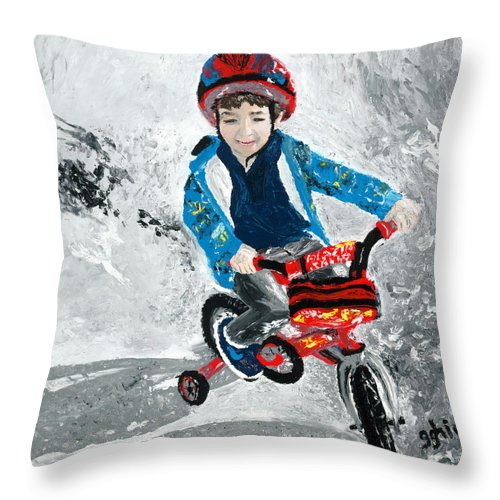 Boy Throw Pillow featuring the painting Three by GG High