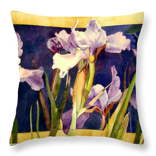 Irises Throw Pillow featuring the painting Three Gossips by Linda Marie Carroll
