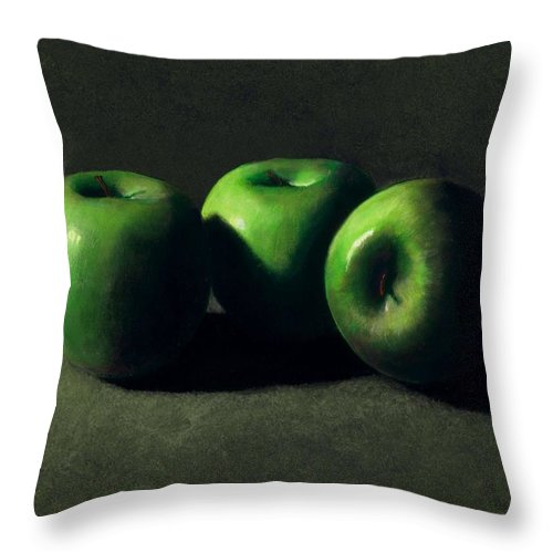 Still Life Throw Pillow featuring the painting Three Green Apples by Frank Wilson