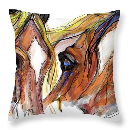Animal Art Throw Pillow featuring the digital art Three Horses Talking by Stacey Mayer