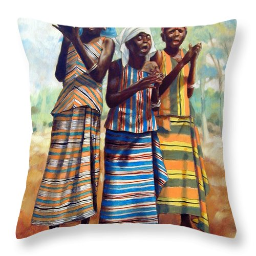 3 African Girls Throw Pillow featuring the painting Three Joyful Girls by John Lautermilch