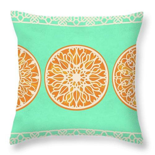 Eucalyptus Green Throw Pillow featuring the digital art Three Lacy Orange Slices On Eucalyptus Green by Ruth Moratz