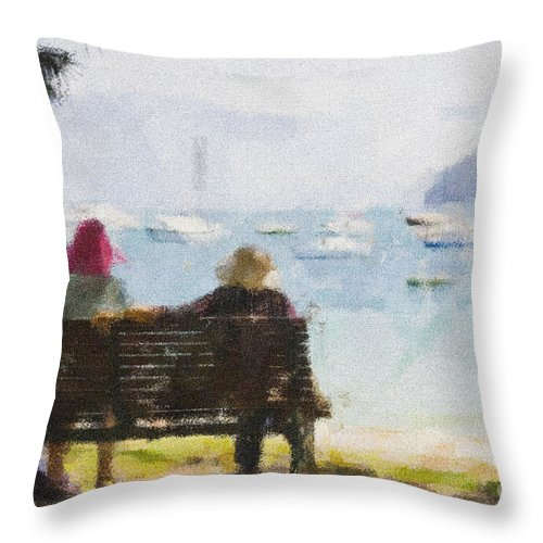 Impressionism Impressionist Water Boats Three Ladies Seat Throw Pillow featuring the photograph Three Ladies by Sheila Smart Fine Art Photography