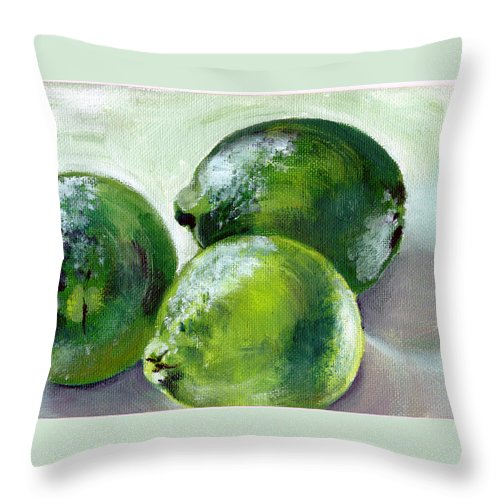 Food Throw Pillow featuring the painting Three Limes by Sarah Lynch