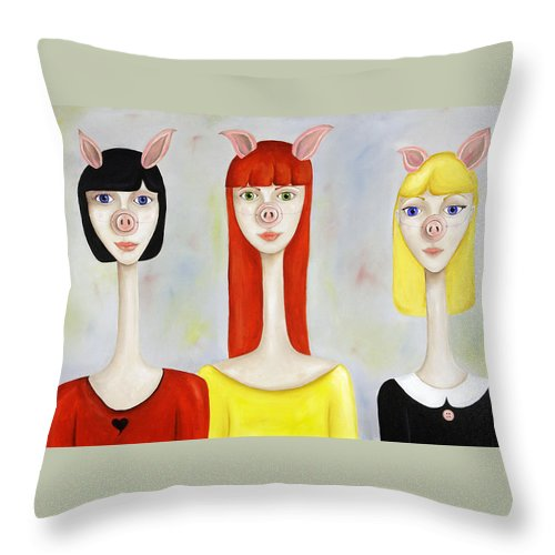 Pig Throw Pillow featuring the painting Three Little Pig Ladies by Cassie Foster