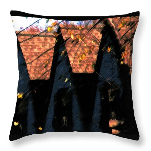 House Throw Pillow featuring the photograph Three Little Pigs by Linda Shafer