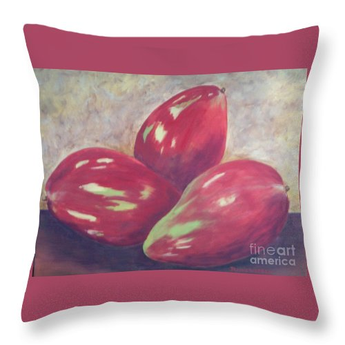 Mangos Throw Pillow featuring the painting Three Mangos by Jeanie Watson