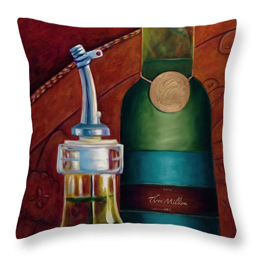 Olive Oil Throw Pillow featuring the painting Three Million Net by Shannon Grissom