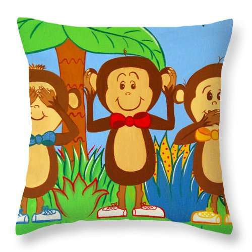 Monkeys Throw Pillow featuring the painting Three Monkeys No Evil by Valerie Carpenter
