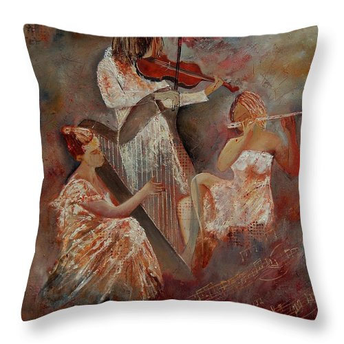 Music Throw Pillow featuring the painting Three Musicians by Pol Ledent