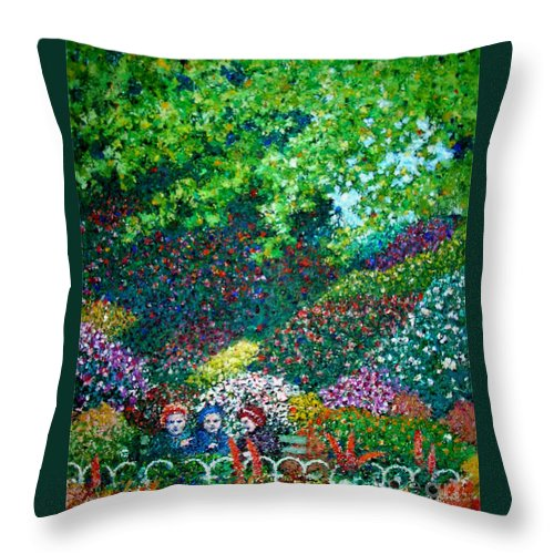 Spring Park Throw Pillow featuring the painting Three Old Ladies In The Park by Andy Mercer