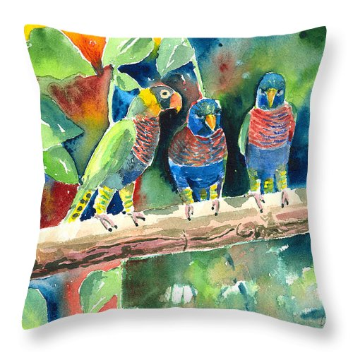 Bird Throw Pillow featuring the painting Three On A Branch by Arline Wagner