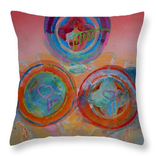Logo Throw Pillow featuring the painting Three On Marine by Charles Stuart
