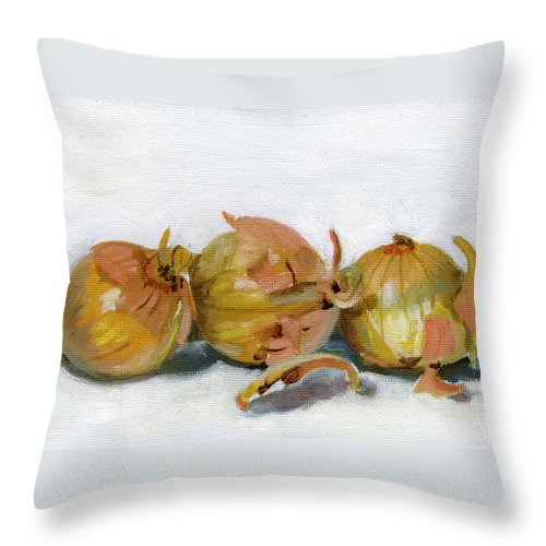 Food Throw Pillow featuring the painting Three Onions by Sarah Lynch