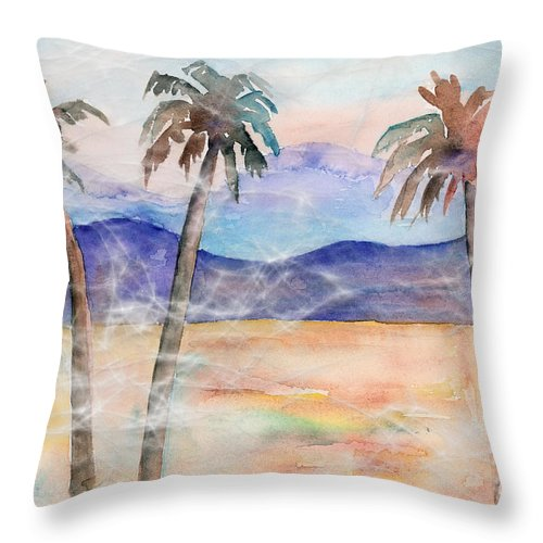 Palm Throw Pillow featuring the painting Three Palms by Arline Wagner