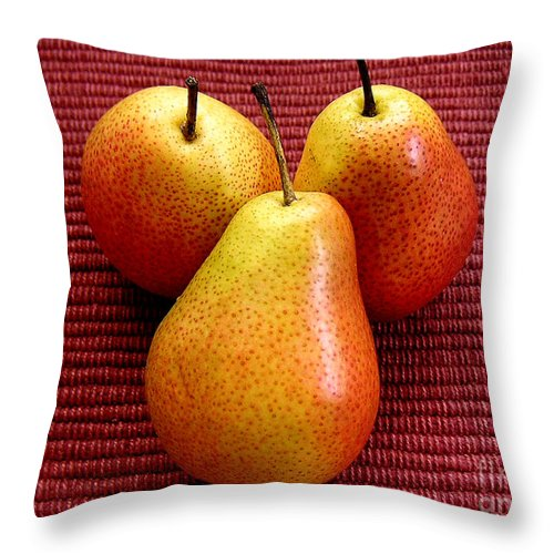 Nature Throw Pillow featuring the photograph Three Pears by Lucyna A M Green