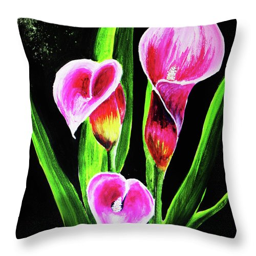 Calla Lily Throw Pillow featuring the painting Three Pink Calla Lilies. by Patricia L Davidson