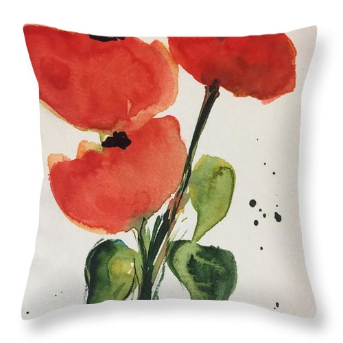 Poppy Throw Pillow featuring the painting Three Poppies by Britta Zehm