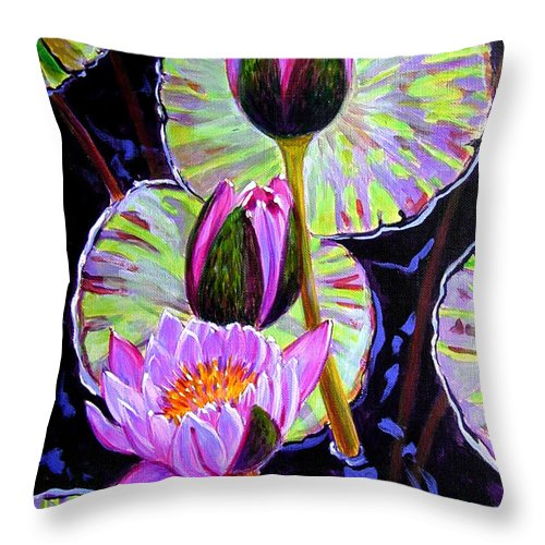 Water Lilies Throw Pillow featuring the painting Three Purple Lilies by John Lautermilch