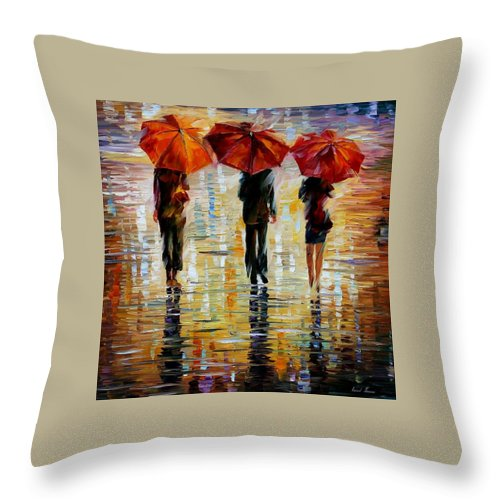 Cityscape Throw Pillow featuring the painting Three Red Umbrella by Leonid Afremov