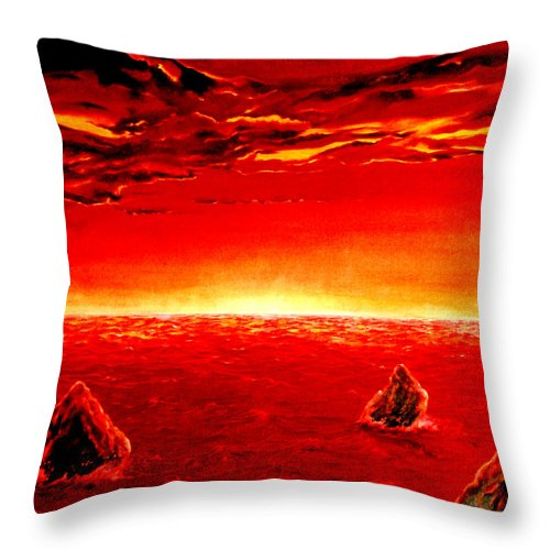 Seascape Throw Pillow featuring the painting Three Rocks In Sunset by Mark Cawood