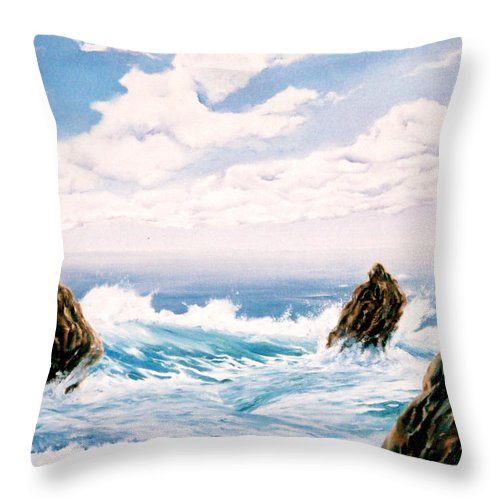 Seascape Throw Pillow featuring the painting Three Rocks by Mark Cawood