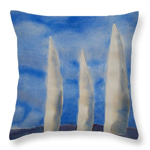 Boat Throw Pillow featuring the painting Three Sails by Patricia Caldwell