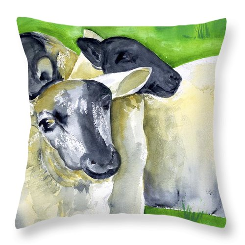 Throw Pillow featuring the painting Three Sheep by Kathleen Barnes