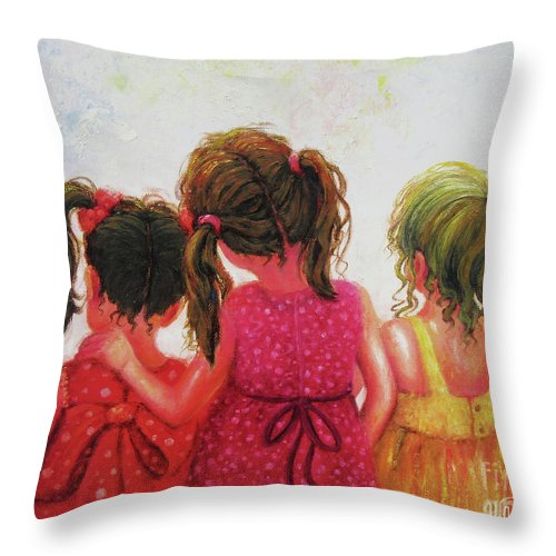 Three Sisters Throw Pillow featuring the painting Three Sisters Brunette, Redhead, Blonde by Vickie Wade