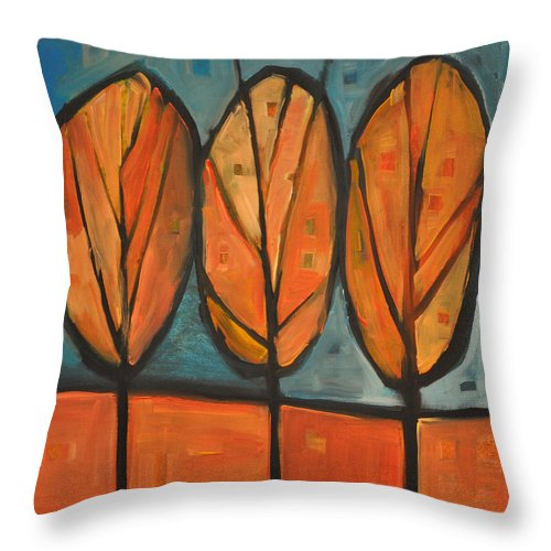 Trees Throw Pillow featuring the painting Three Sisters Fall by Tim Nyberg