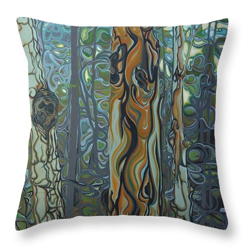 Landscape Throw Pillow featuring the painting Three Sisters by Jan Lyons