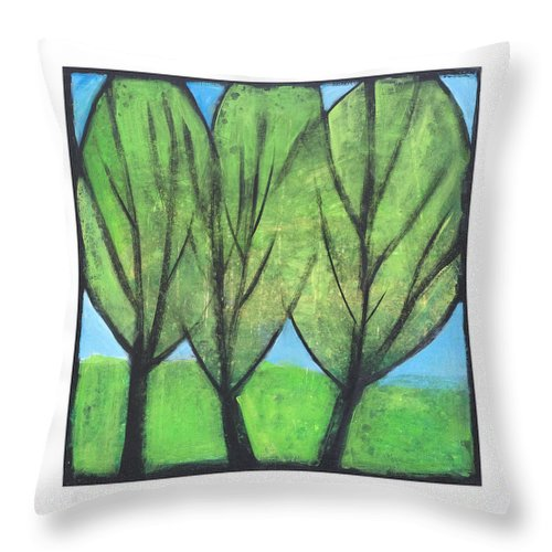 Trees Throw Pillow featuring the painting Three Sisters by Tim Nyberg