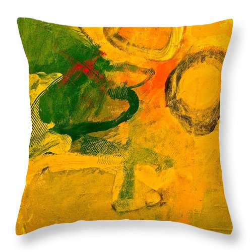 Abstract Painting Throw Pillow featuring the painting Three Sisters With Autum's Child by Cliff Spohn