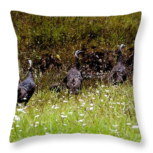 Turkey Throw Pillow featuring the painting Three Turkeys by David Lee Thompson