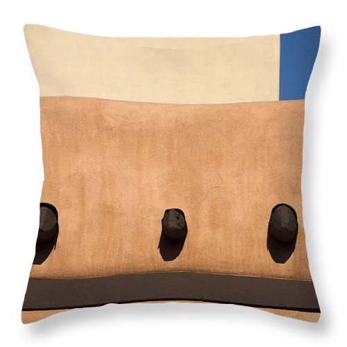 Southwest Throw Pillow featuring the photograph Three Vigas by Carol Leigh