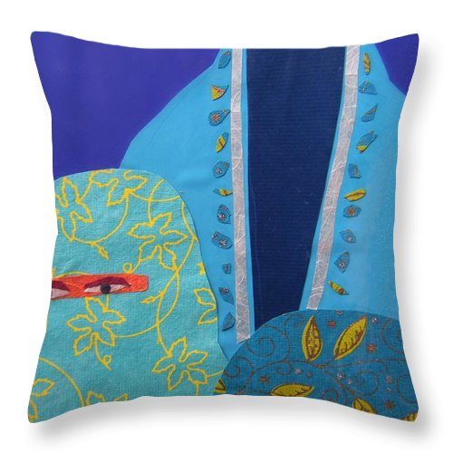 Women Throw Pillow featuring the painting Three Women In Burkhas by Debra Bretton Robinson