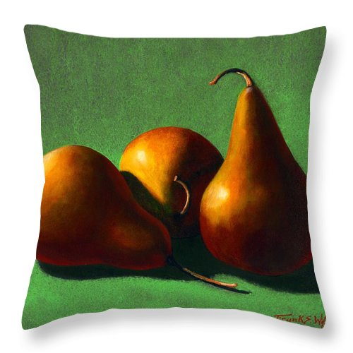 Still Life Throw Pillow featuring the painting Three Yellow Pears by Frank Wilson