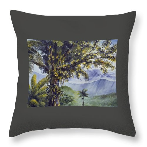 Chris Cox Throw Pillow featuring the painting Through The Canopy by Christopher Cox